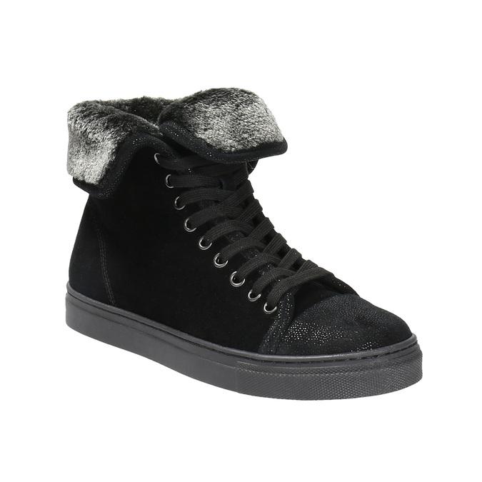Knöchelhohe Leder-Sneakers mit Fell bata, Schwarz, 593-6601 - 13