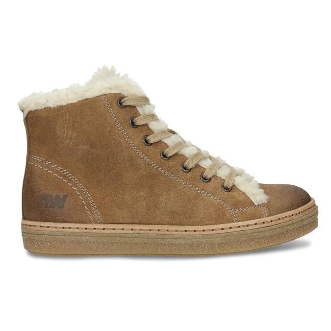 Knöchelhohe Leder-Sneakers mit Kunstpelz, Braun, 596-8627 - 19