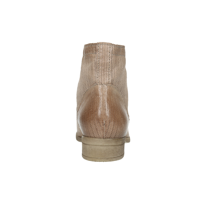 Leder-Knöchelschuhe mit Perforationsmuster bata, Braun, 596-4646 - 17