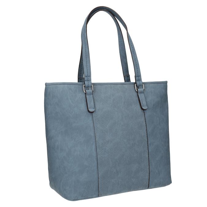 Blaue Handtasche mit perforiertem Detail bata, Blau, 961-9711 - 13