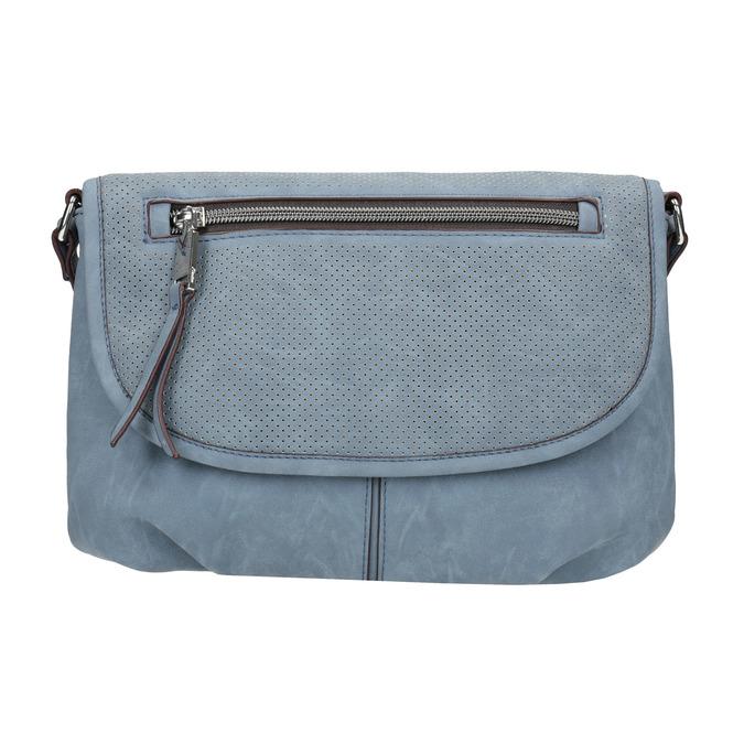 Crossbody-Handtasche mit perforierter Klappe bata, Blau, 961-9709 - 26