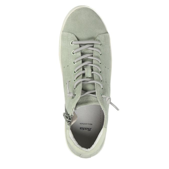 Knöchelhohe Damen-Sneakers aus Leder bata, Grűn, 523-7602 - 19