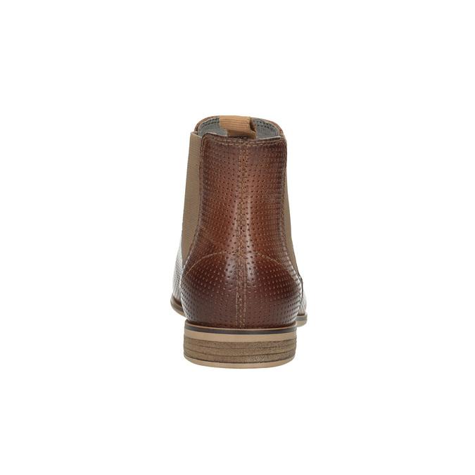 Knöchelhohe Chelsea Boots aus Leder mit Perforation bata, Braun, 596-4644 - 17