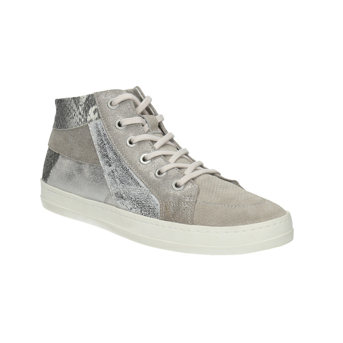 Knöchelhohe Leder-Sneakers mit Muster bata, Grau, 526-2614 - 13