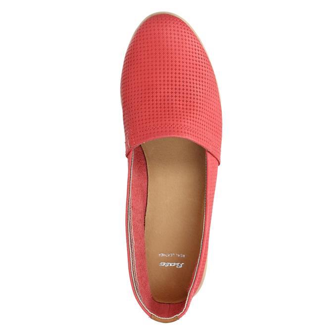 Rote Slip-Ons aus Leder bata, Rot, 516-5602 - 19