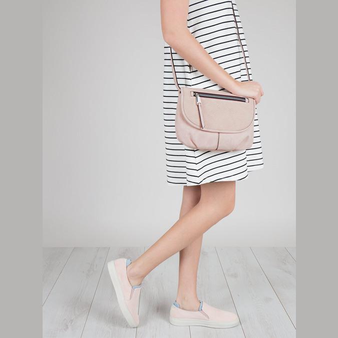 Rosa Crossbody-Handtasche mit perforierter Klappe bata, Rosa, 961-5709 - 17
