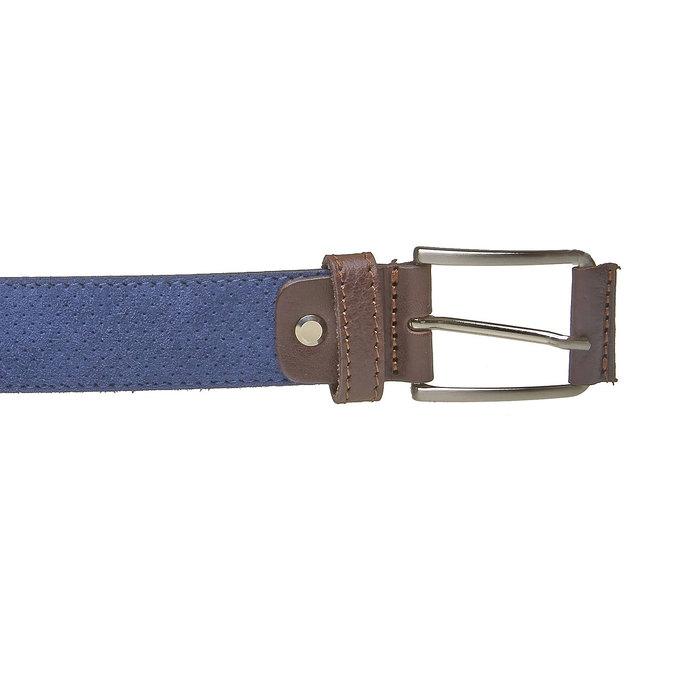 Ledergürtel mit Perforation, Blau, 953-9325 - 26