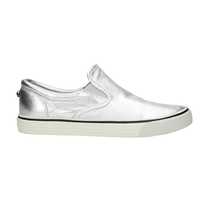 Silberne Slip-Ons aus Leder diesel, Silber , 504-1437 - 15