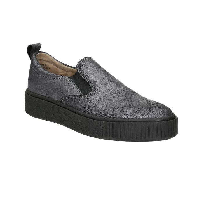 Damen-Slip-Ons mit schwarzer Flatform bata, Grau, 516-1613 - 13