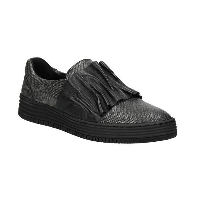 Damen-Slip-Ons aus Leder bata, Schwarz, 516-6614 - 13