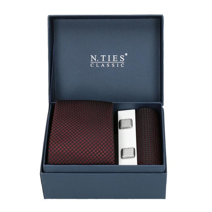 Set, bestehend aus Krawatte, Einstecktuch und Manschettenknöpfen bata, Rot, 999-5293 - 13