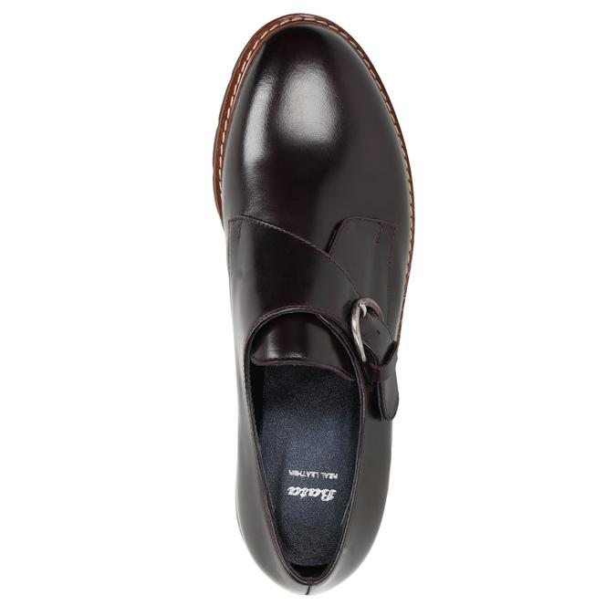 Damen-Monk-Shoes aus Leder bata, Rot, 516-5611 - 26
