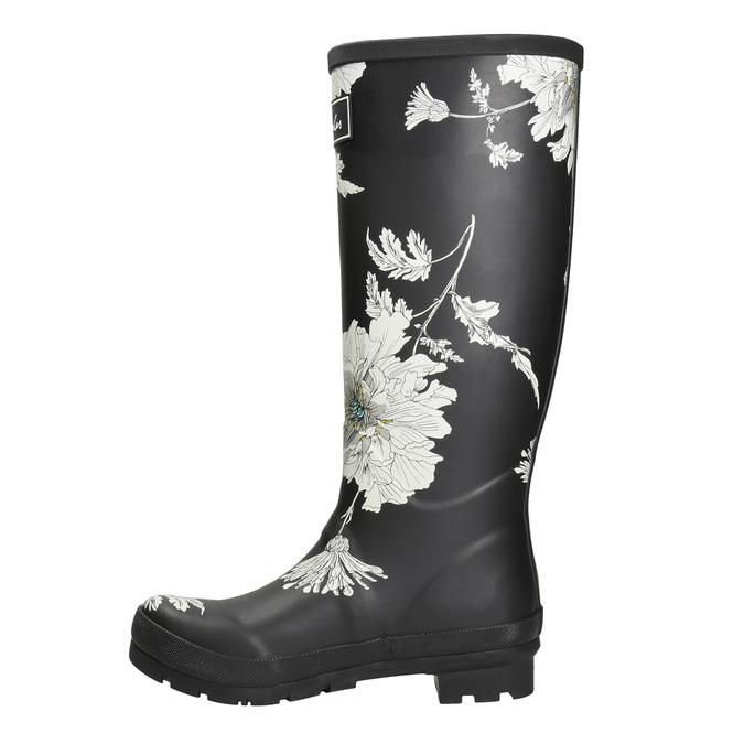 Schwarze Stiefel mit Blumenmuster joules, Schwarz, 502-6043 - 15