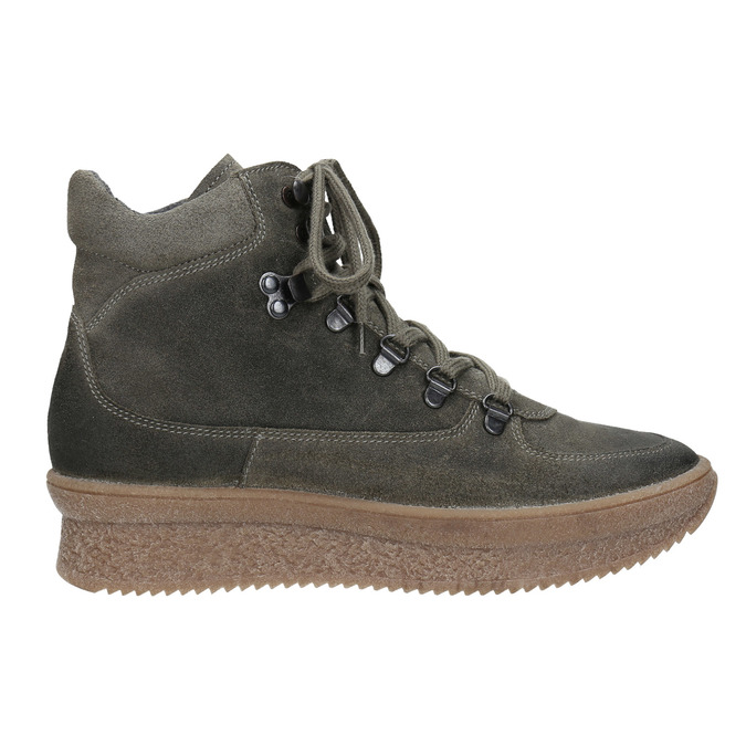 Damen-Flatform-Schuhe aus Leder bata, Grau, 596-2673 - 26
