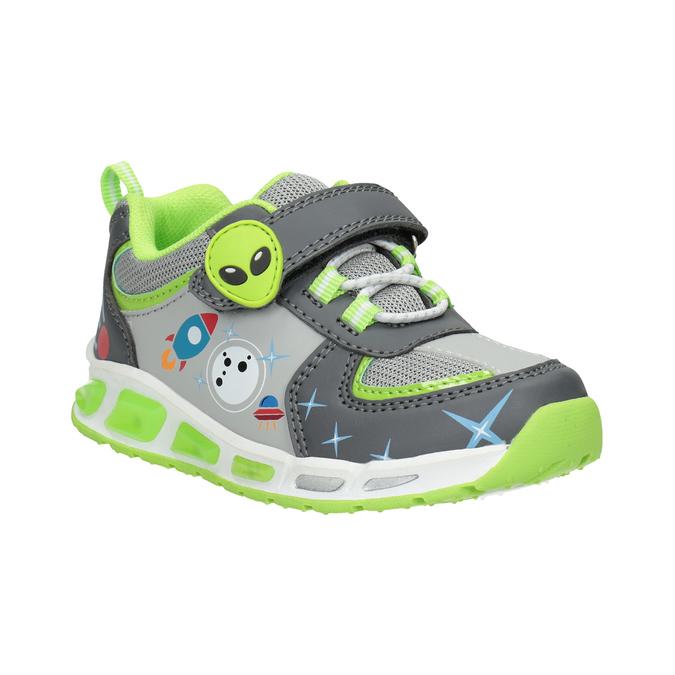 Grüne Kinder-Sneakers mit blinkender Sohle mini-b, Grau, 211-2102 - 13