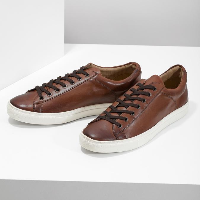 Herren-Sneakers aus Leder bata, Braun, 846-4648 - 16