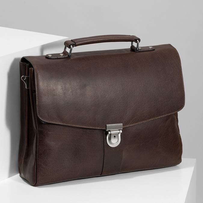 Braune Aktentasche aus Leder bata, Braun, 964-4289 - 17