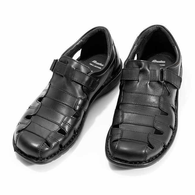 Schwarze Herrensandalen aus Leder bata, Schwarz, 864-6600 - 16